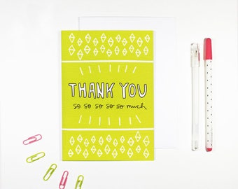 Green Thank You Card Bright Pattern