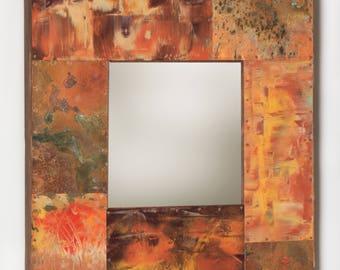 22 x 22 Copper and Metal Border Mirror
