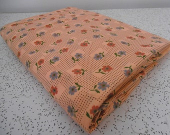 geometric floral in apricot...vintage cotton fabric yardage