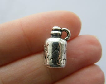 4 Moon shine bottle charms antique silver tone FD250