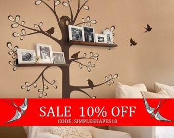 Sale - Wall Decals Baby Nursery Decor: New Style Shelving Tree by Simple Shapes - Nursery Wall Sticker Decoration Tree with Shelves Outli...