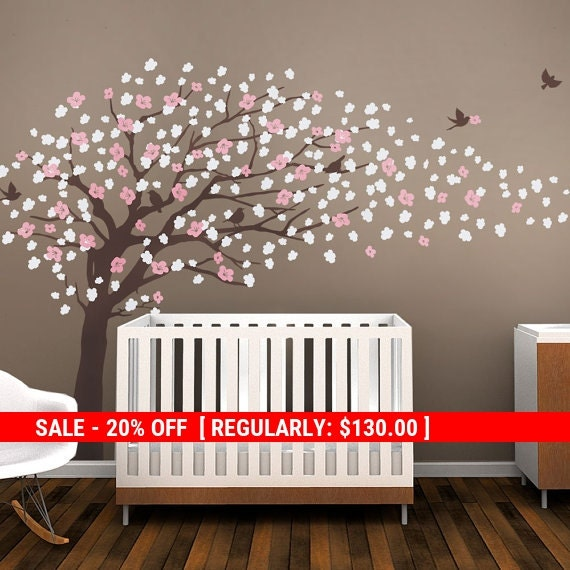 Holiday Sale - Cherry Blossom Tree Wall Decal, Elegant Cherry Blossoms, Cherry Blossom Wall Decal, Baby Nursery Tree Decal