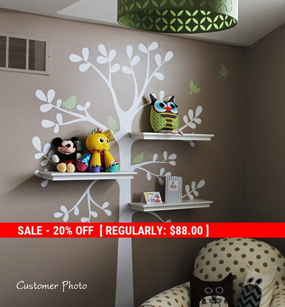 Holiday Sale - Tree Wall Decals - The ORIGINAL Shelving Tree with Birds