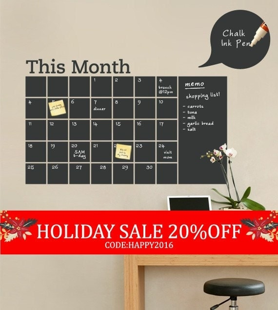 Holiday Sale - Chalkboard Wall Calendar with Memo - Vinyl Wall Decal