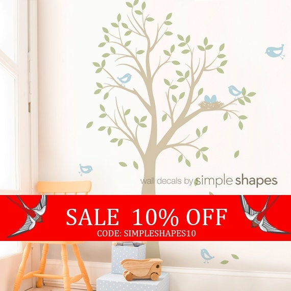 Sale - THE ORIGINAL Tree with Birds and Nest Decal - Children's Vinyl Wall Decal Set