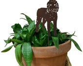 Golden Doodle Ornament / Plant Stake / Dog / Metal / Holiday / Christmas / Rusty / Decor