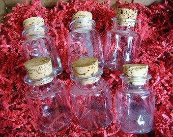 6 Clear Glass Bottles with Cork Stoppers - Storage Bottles - Storage Jar Cork Stopper Bottles