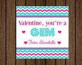 You're a Gem Valentine, Jewelry Valentine Tag, Girls Valentine Tag, School Valentine