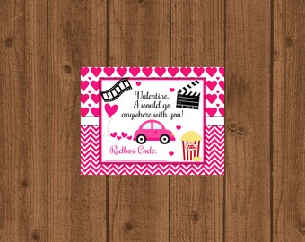 Redbox printable/Instant Download/Redbox Gift Tag/Movie Certificate/Valentine Redbox/Movie Gift Card/DVD Gift Card/Red Box