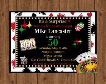 Casino 50th Party Invitation, Casino Night Birthday Invitation, Poker Night Invite, Las Vegas, Blackjack, Printable Casino
