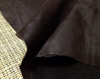 thin dark brown leather hide - sewing leather supplies - genuine sheepskin lamb leather, sheep leather (L-8)