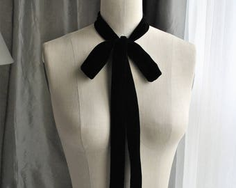 NEW Black Silk Velvet Unique and simple neck tie/can be worn many different ways/Black silk/Bow/Bow choker/Bow back/Bow waist/Bow belt