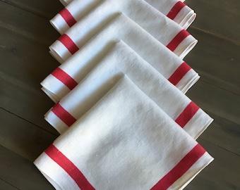 "6 LINEN Red stripe on White NAPKINS 17"" square"