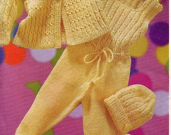 Baby Knitting Pattern Pram Set Coat, Romper, Bonnet and Mitts -  19 to 20 inch chest DK