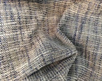 TWEED Woven CHARCOAL Gray Cream NAVY Blue Upholstery Fabric, 02-17-29-0317