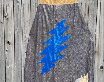 Grateful Dead 13 Point Lightning Bolt Adult Length Cape in Silver Sequin with Gold Faux Velvet Lining