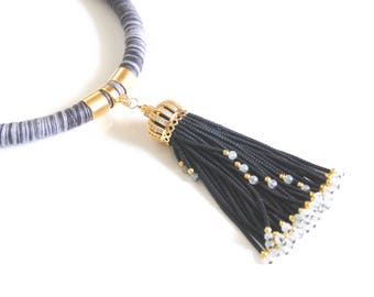 Rope Tassel Necklace -Beaded Tassel Necklace- Black And Gray  rope necklace- Statement necklace-Cord necklace- Rope Jewelry -Tassel jewelry-
