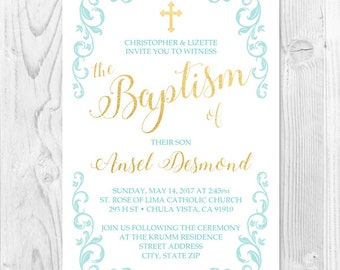 Baptism Invitation for Boy or Girl 5x7 or 4x6