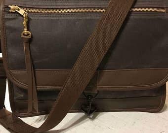 Messenger Bag, Satchel, waxed canvas bag, waxed canvas satchel, leather trim satchel, canvas leather satchel, cross body waxed canvas bag