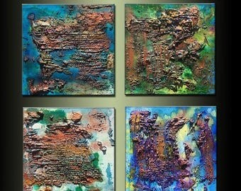 Original Textured Metallic Abstract Painting Contemporary Canvas Art by Henry Parsinia large 24x24