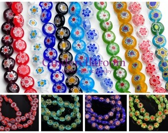 Wholesale 50pcs 8x3.5mm Millefiori Glass Colorful Rondelle Lampwrok Loose Spacer Glass Beads Charms Jewelry Findings SKU LL010-0~11