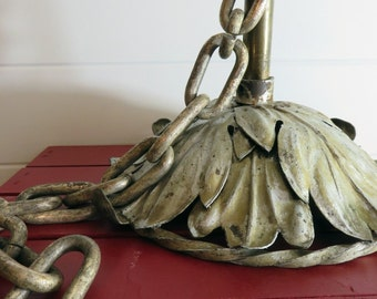 Vintage Hanging Pendant Light Fixture . Leaves with Scroll Rim . Heavy . Metal and Brass . Attached Thick Chain