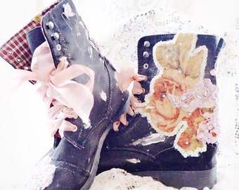 French Market boho Combat boots, The Artist boho Embellished floral boots, Boho booties, romantic shoes, altered shoes, true rebel clothing