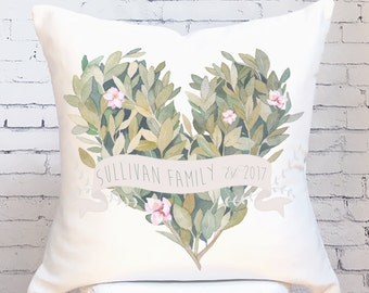 Wedding Gift Cotton Anniversary Gift Personalized Family Name Est. Pillow Cover