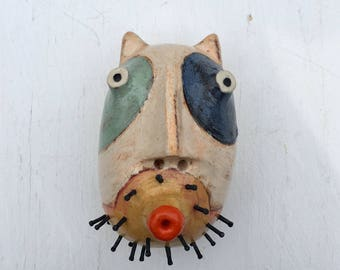 White patchwork cat wall sculpture small rd. head
