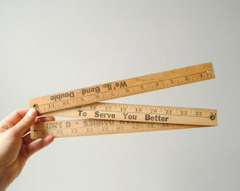 Vintage Folding Wood Ruler, Folding Yard Stick