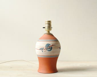Vintage Table Lamp, Terra Cotta Lamp, Handmade Pottery Lamp