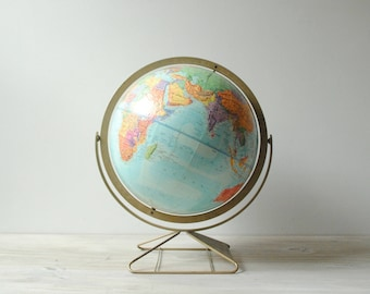 "Vintage World Globe, 12"" Replogle Relief Globe"