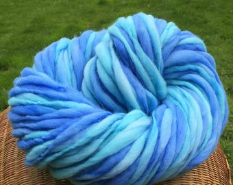 Super bulky handspun yarn, thick and thin in hand dyed turquoise and blue merino wool - 79 yards, 4.3 ounces/ 122 grams