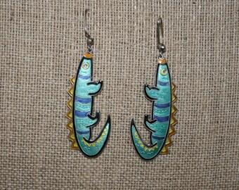 Artsy Vintage Lizard Enamel Zarah Earrings plus Free USA Shipping!