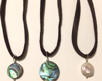Abalone Chokers, Leather Chokers, Brown Leather Necklace, Shell Choker, Beach Jewelry, pick one