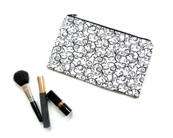 Cosmetic case, slim make up bag, black and white scroll fabric pouch, gift for her under 20, zipper pouch, pencil case