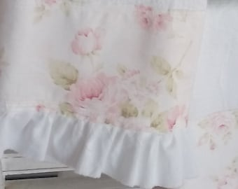 Pale Pink Shabby Cabbage Rose Fabric White Ruffled Trimmed Raw Edge Flour Sack Towel Kitchen Tea Towel All Cotton One Towel