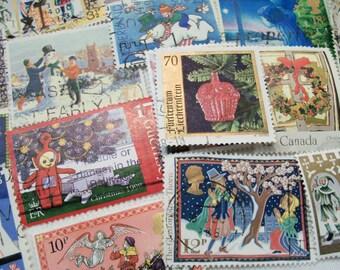 45 Christmas Postage Stamps, Postage Stamps, Vintage Stamps, Used Stamps, World Wide Stamps