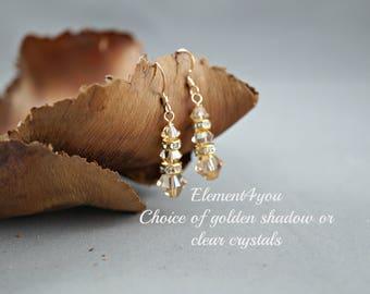 Bridal crystal earrings, Dangle earrings, Bridesmaid earrings, Wedding jewelry, Wedding crystal earrings, Swarovski golden shadow crystals