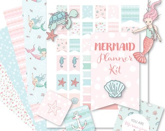 Printable MERMAID Planner Kit!-Digital File Instant Download- die cuts, stickers, digital paper, tabs, Bando, the Happy Planner, hand drawn