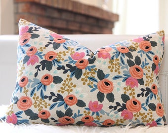 Lumbar Pillow Cover Rifle Paper Rosa Floral in Natural with back side in Blush, floral pillow, medium floral,  nursery pillow, baby girl