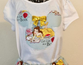Disney's Belle twirly skirt & shirt set perfect for Disney, Beauty and the Beast birthday parties, photos, etc.