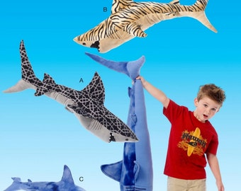 Big Sharks Pattern, Stuffed Sharks Pattern, Toy Sharks Pattern, McCall's Sewing Pattern 7103