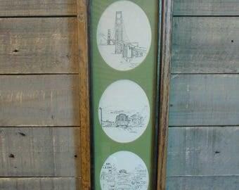 San Francisco Framed Etchings - Landmarks - Golden Gate Bridge - Cablecars - Lombard Street - Contemporary Art - Home Decor