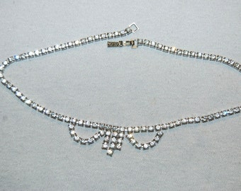 Vintage / Rhinestone / Clear / Necklace / Sparkling / Bling / Old Jewelry / Jewellery