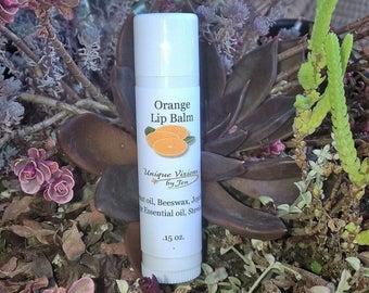 ON SALE Orange Lip balm, .15 oz, natural lip balm, chapped lips, lip therapy, healing lip balm, chapped lip remedy, oral care, unique vision