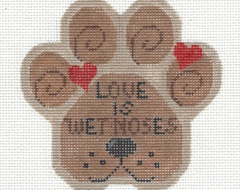 Love Is Wet Noses Dog Paw Print Hand Painted Needlepoint Canvas