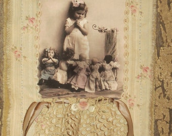 Vintage Lace Tattered Roses  Mini Quilt Collage  Girl Praying with her dolls