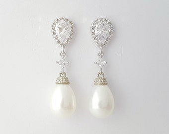 Bridal Pearl Earrings Wedding Jewelry Cubic Zirconia Posts Bridal Earrings White Ivory Pearl Teardrop Earrings, Vivian