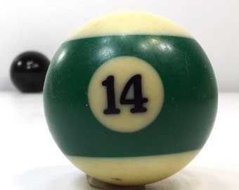 vintage 70s pool ball number 14 fourteen green stripe resin billiard collectible object decorative home decor altered art game room men old